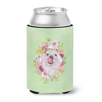 Carolines Treasures  CK4300CC English Bulldog Green Flowers Can or Bottle Hugger
