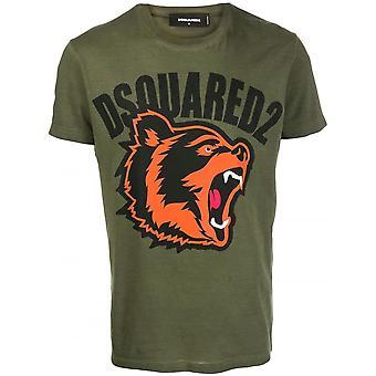DSQUARED2 Bear Print Army Green T-shirt