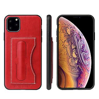 For iPhone 11 Pro Max Case Red Luxury Leather Back Protective Cover, Kickstand