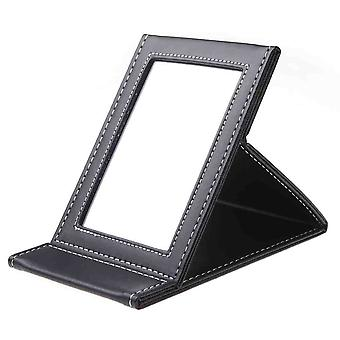 Makeup Mirror With Black Leather Frame Portable and Foldable Travel Make Up Beauty