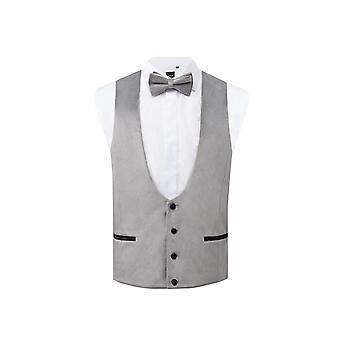 Dobell mens zilver fluwelen Tuxedo gilet regular fit
