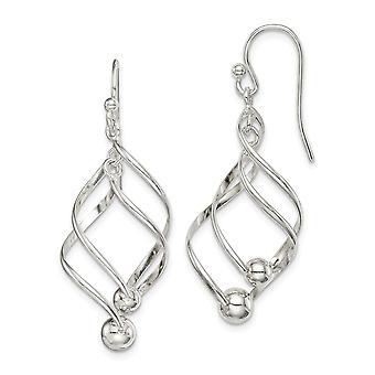 925 plata esterlina pulido largo gota colgante pendientes joyería regalos para las mujeres - 2.6 gramos