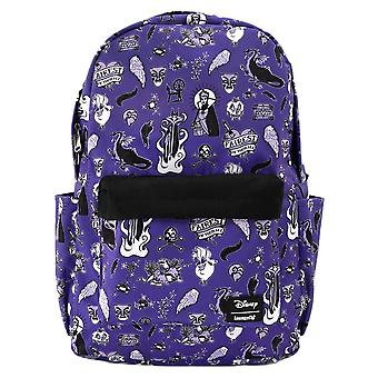 Loungefly x Disney Villains kuvakkeet AOP violetti laptop reppu
