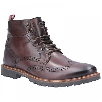 Base London Mens Bower Brown Leather Burnished Lace Up Brogue Boots