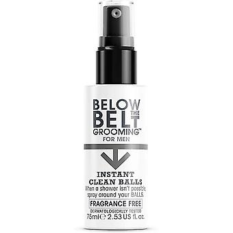 Below The Belt Grooming Instant Clean Balls, Fragrance Free, 75ml. Ideal for Sports, Gym, Festivals, Travel
