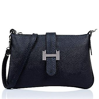 FIRENZE ARTEGIANI. Real leather woman shoulder bag. Authentic leather woman bag. Finished leather bag Dollar soft feel. MADE IN ITALY. REAL ITALIAN SKIN. 24x14 5x2 cm. Color: Dark blue