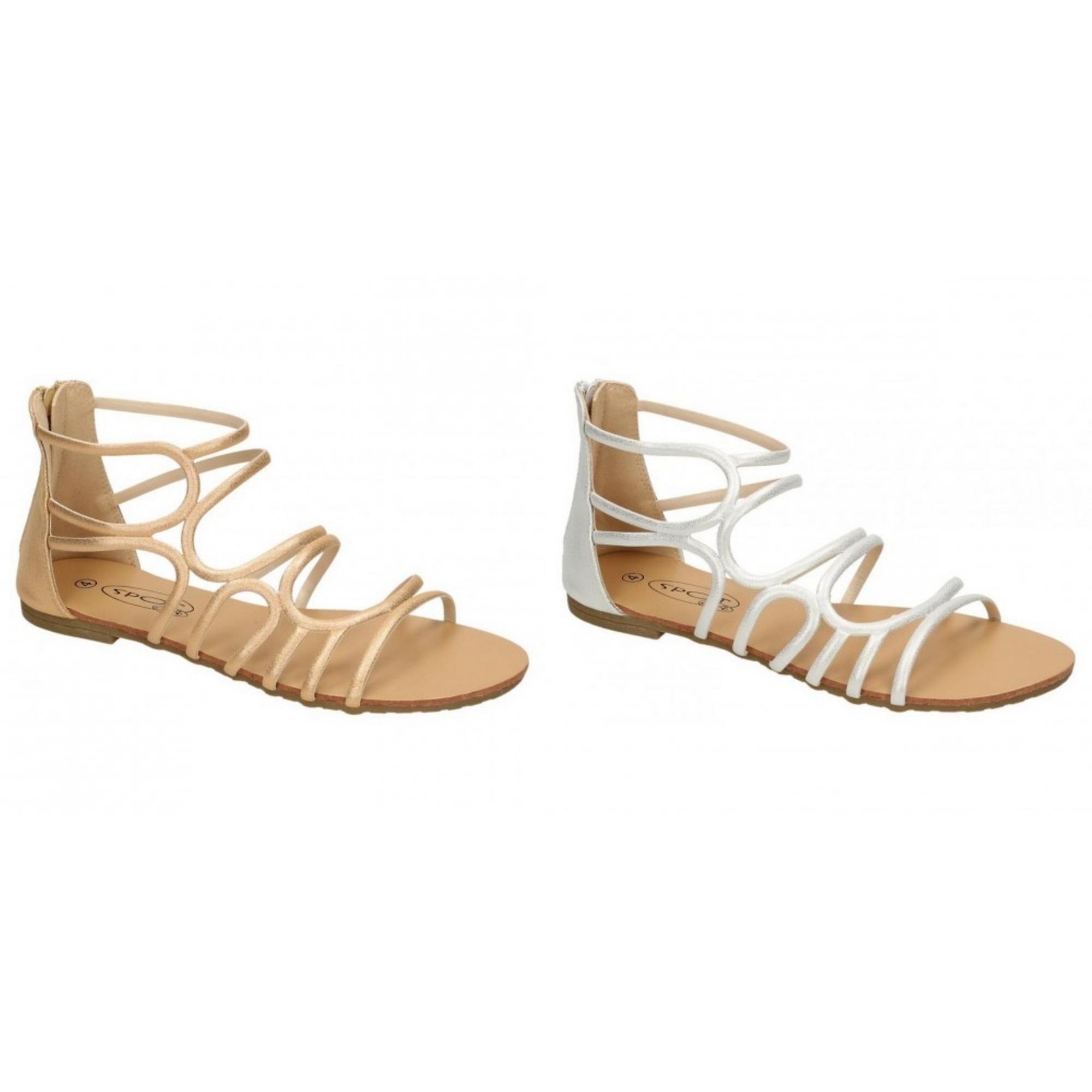 Na miejscu u kobiet/damskie skórzane sandały z paskami zyskały 7Lzl3
