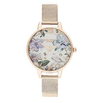 Olivia Burton Watches Ob16bf27 Bejewelled Florals Silver Glitter Dial et Rose Gold Mesh Ladies Watch