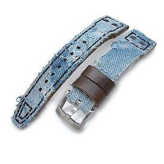 Strapcode fabric watch strap 21mm, 22mm miltat distressed light blue denim watch strap, rivet military strap
