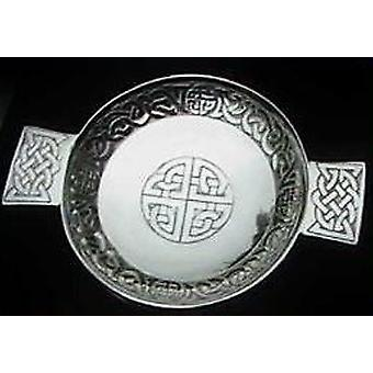 Celtic Interlaced Circle and Boss Pewter Quaich - 130mm