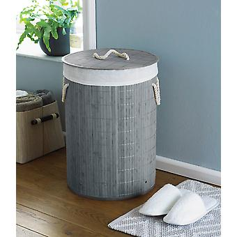 Country Club Round Bamboo Laundry Basket, Grey