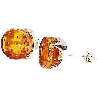 The Olivia Collection Sterling Silver Round Amber Stud Earrings