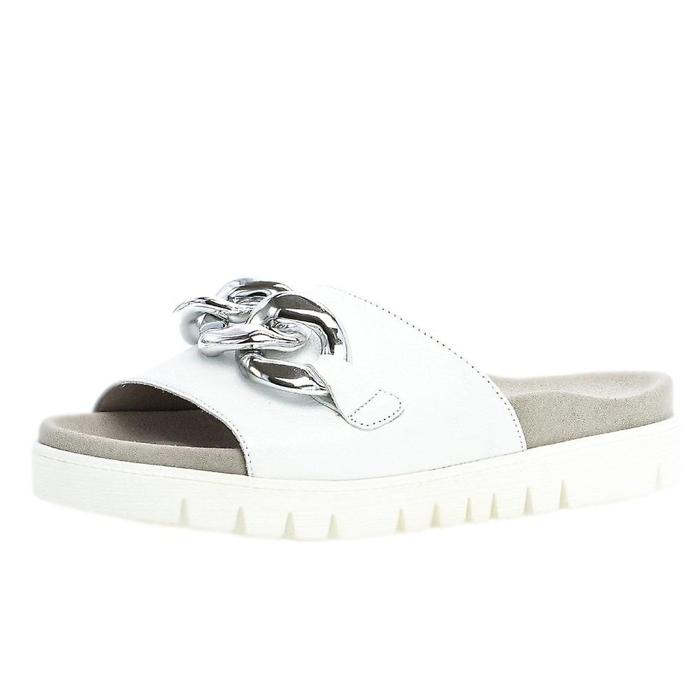 Gabor Erica Modern Sporty Mules With Chain Detail In White rZjKB