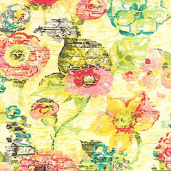 Lucy in the Sky Vintage Floral Wallpaper Amarillo/Verde Rasch 803716