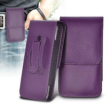 Motorola Moto G Power Purple XXLarge Vertical Faux Leather Belt Holster Pouch Cover Case