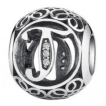 Sterling Silver Charm med Zirconia Stones Brev T - 5195