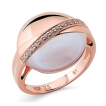 Orphelia Silver 925 Ring with Mother of Pearl & Cubic zirconia Rose Gold plated