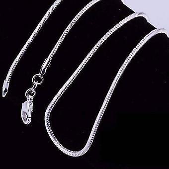 Silkeblød sølv slange kæde halskæde 18-24 inches