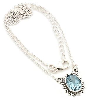 Blue Topaz Necklace 925 Silver Sterling Silver Chain Necklace (MCO 12-62)