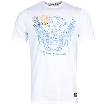 MA-1 P38 Angel Wings Print White T-Shirt