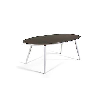 Table alu verre dépoli 200 cm, ovale - blanc