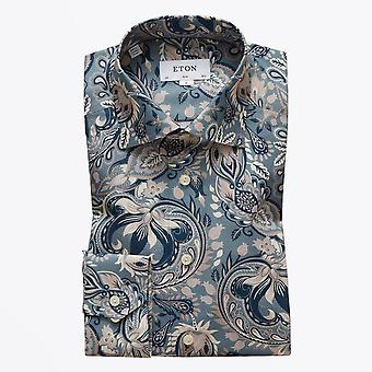 Eton - Vet Paisley Print Shirt - Blauw