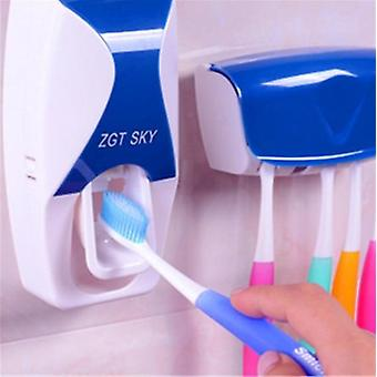 Auto Dispenser Tooth Brush Holder & 5 Toothbrush Organizer Wall Mount Stand Bathroom Accessories