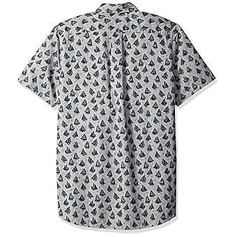 Goodthreads Men's Standard-Fit Short-Sleeve Printed Poplin Shirt, Boats, Small