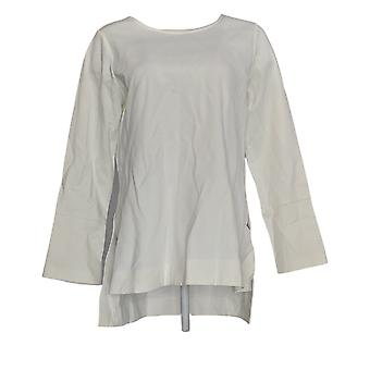 Du Jour Women's Top Solid Knit Tunic c/ Cuff Detail White A295653