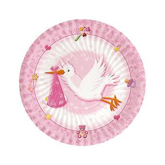 Bem-vindo Baby Pink 18cm Placas de Festa de Papel