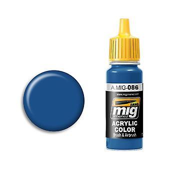 弾薬 バイ ミグ アクリル ペイント - A.MIG-0086 ブルー RAL 5019 (17ml)