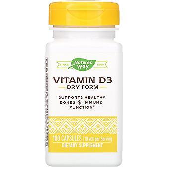 Nature's Way, Vitamin D3, Dry Form, 10 mcg, 100 Capsules