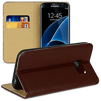 Book case with card compartment for Samsung Galaxy S7 Edge Microfiber TPU Magnetic Lock Brown