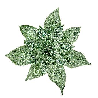 25cm Green Glittered Angled Clip-On Poinsettia Christmas Decoration