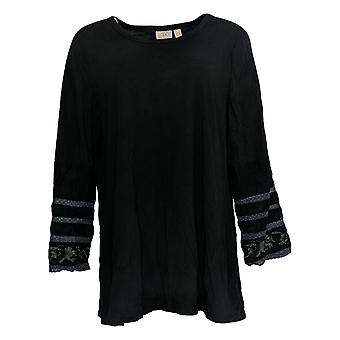 LOGO by Lori Goldstein Women's Top Modal Embroidered Sleeve Black A351666