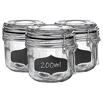 Glass Storage Jars with Airtight Clip Lid and Chalkboard Stickers - 200ml Set - Black Seal - Pack of 6