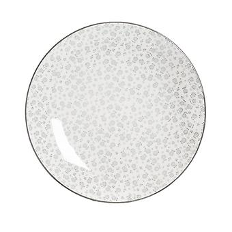 Nicola Spring Daisy Patterned Dinner Plate - Large Porcelain Dining Dish - Grey - 26.5cm