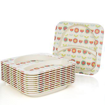Tiny Dining Children's Bamboo Fibre Dining Plate - Fleur - Pack de 12