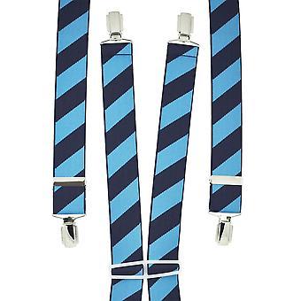 Krawaty Planet Navy & Chaber Blue Striped Mężczyźni&s Spodnie Szelki
