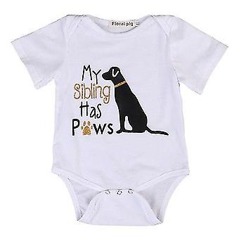 Cotton Toddler Short Sleeve, Cute Dog Romper Jumpsuit Clothes