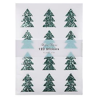 Meri Meri green glitter boom sticker vellen x 10 kerst ambachtelijke
