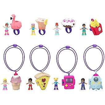 4-Pack Polly Pocket Tiny Takeaway Figure Doll Mini Doll With Accessory PlaySet