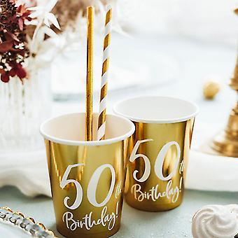 50e anniversaire Gold Paper Party Cups Décorations x 6