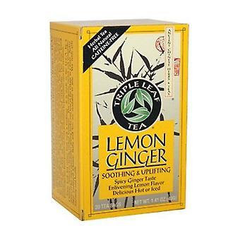 תה צמחים טריפל עלה תה לימון ג'ינג'ר, 20 שקיות