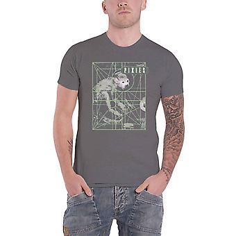 Pixies T Shirt Doolittle Monkey Grid Band Logo new Official Mens Charcoal Grey