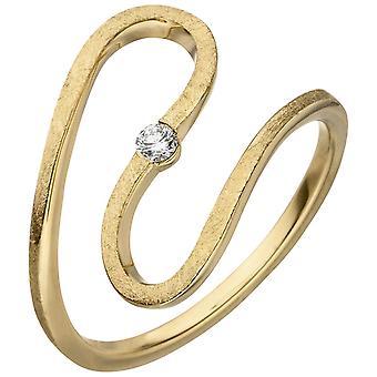 ウィメンズリングスネーク585ゴールドイエローゴールドアイスマット1ダイヤモンドブリリアント0.05ct。