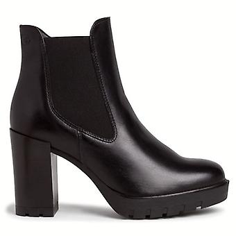 Chelsea Tamaris ankelstøvle i sort læder med høj hæl
