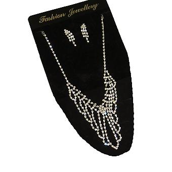 Clear Crystal Diamante Déclaration Collier & Boucles d'oreilles Set Soirée Occasion spéciale Correspondant Bijoux Ensemble Argent