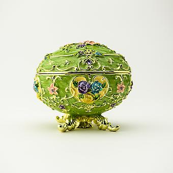 Faberge Egg With Flowers Trinket Box