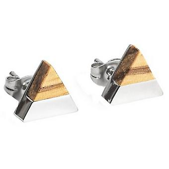 BeWooden Lini Triangle Earrings - Silver/Brown